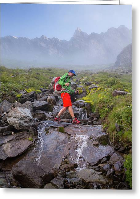 A Solo Male Hiker Is Crossing Greeting Card