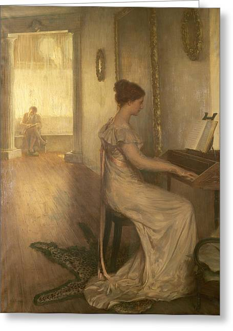 A Sonata Of Beethoven Oil On Canvas Greeting Card by Alfred Edward Emslie