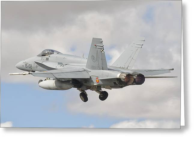 A Spanish Air Force Fa-18c During Tlp Greeting Card by Giovanni Colla