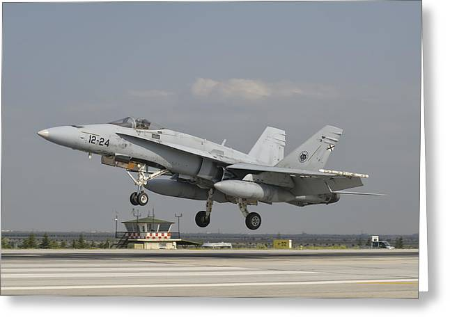 A Spanish Air Force Fa-18c Greeting Card by Giovanni Colla
