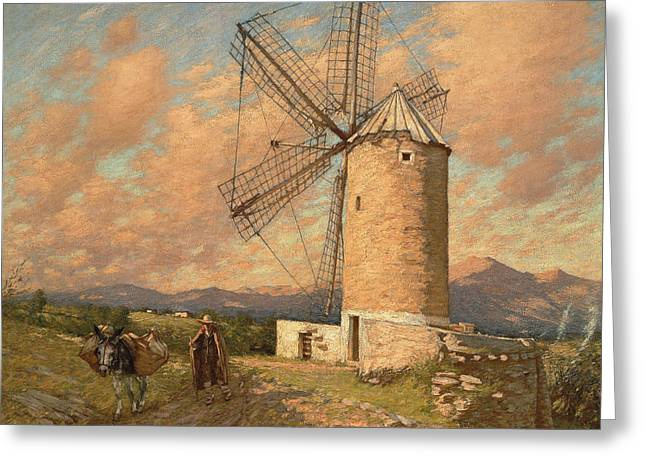 A Spanish Mill Greeting Card by Henry Herbert La Thangue