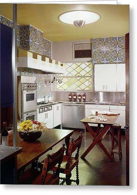 A Spanish-style Kitchen Greeting Card by Bill Margerin