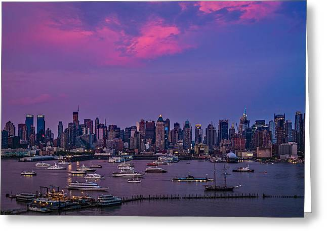 A Spectacular New York City Evening Greeting Card by Susan Candelario