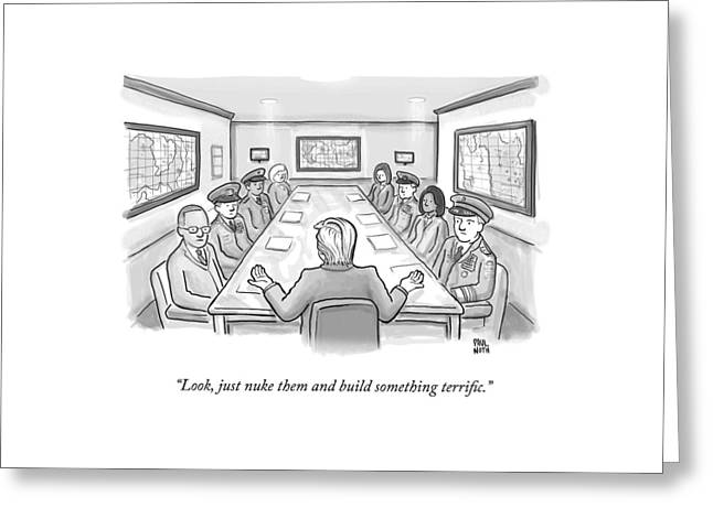 A Spectacularly Coifed Politician Speaks Greeting Card by Paul Noth