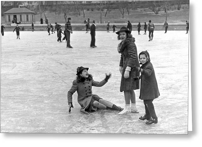 A Spill On The Ice In Central Park Greeting Card