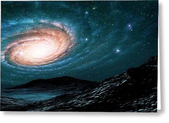 A Spiral Galaxy Seen From A Planet Greeting Card