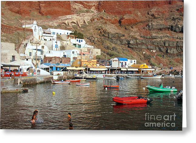 A Splash In Amoudi Bay  Greeting Card