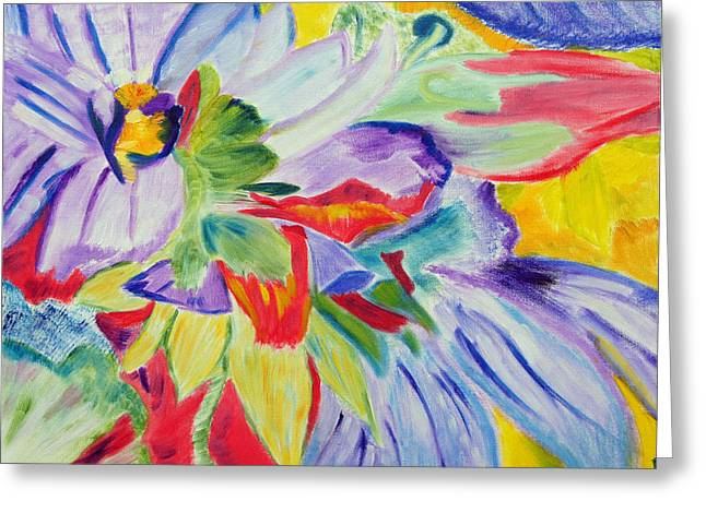 Greeting Card featuring the painting A Splash Of Petals by Meryl Goudey