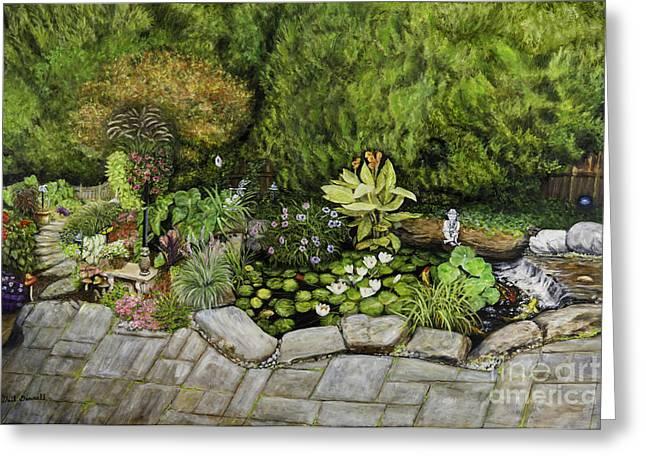 A Splendid Garden - Koi Pond Greeting Card by Gail Darnell