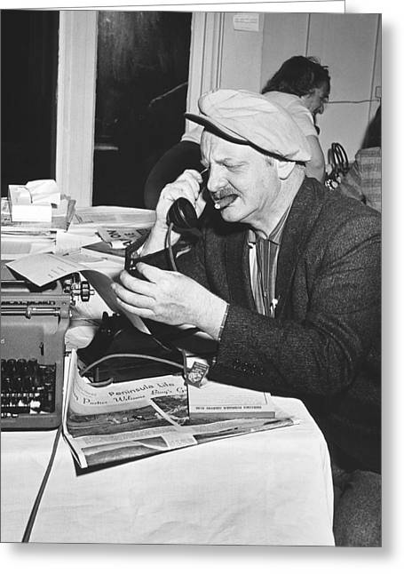 A Sports Reporter At Work Greeting Card by Underwood Archives