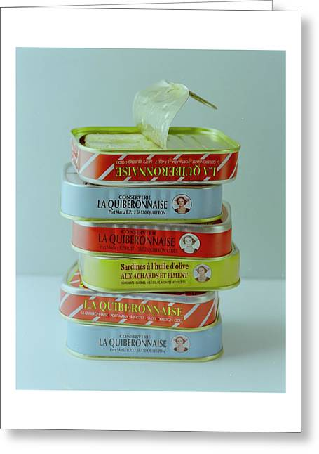 A Stack Of Cans Of Sardines Greeting Card