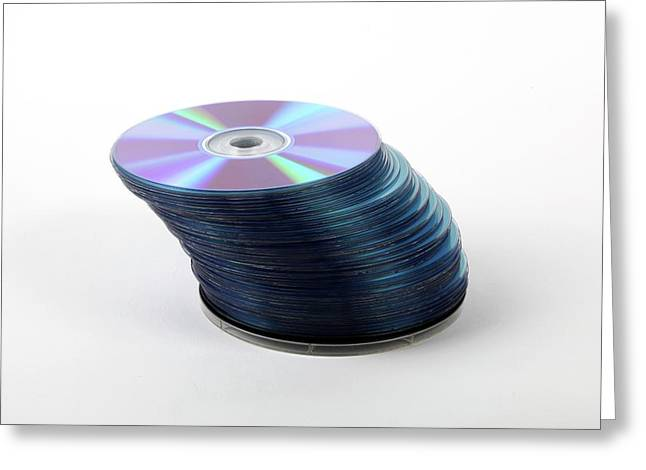 A Stack Of Recordable Discs Greeting Card by Photostock-israel