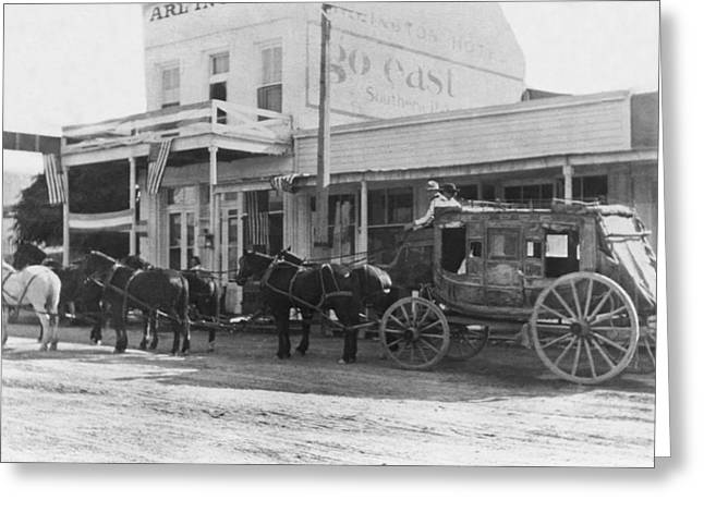 A Stagecoach In Tombstone Greeting Card by Underwood Archives