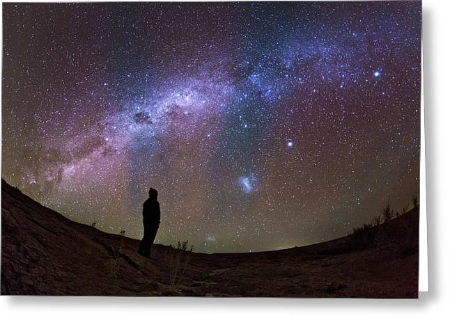 A Stargazer Observing The Milky Way Greeting Card by Babak Tafreshi