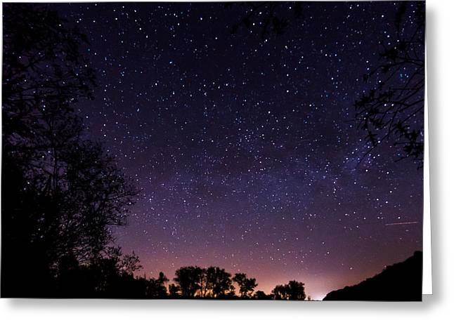 a starry night at the Inn Greeting Card by Hannes Cmarits