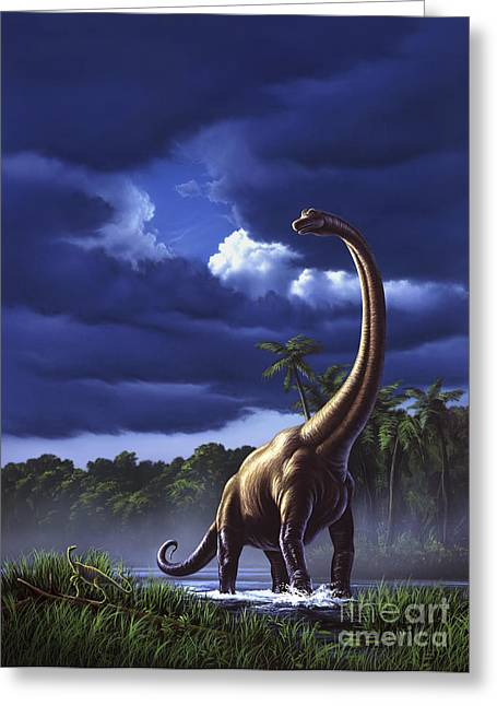 A Startled Brachiosaurus Splashes Greeting Card