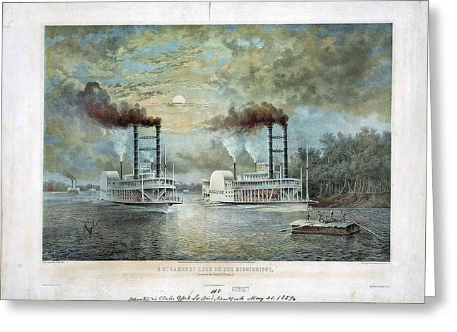 A Steam Boat Race On The Mississippi Between Baltic And Diana Greeting Card