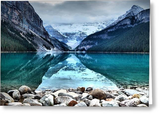 A Still Day At Lake Louise Greeting Card