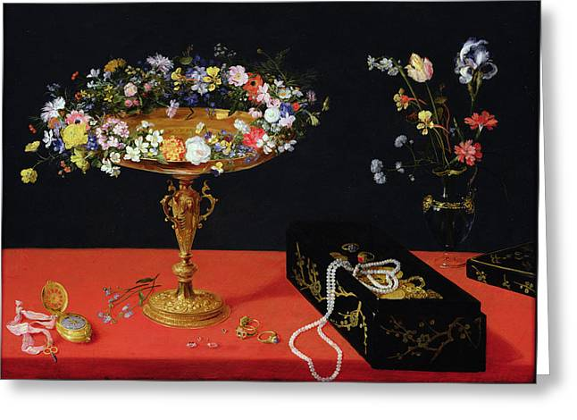 A Still Life Of A Tazza With Flowers  Greeting Card by Jan the Younger Brueghel