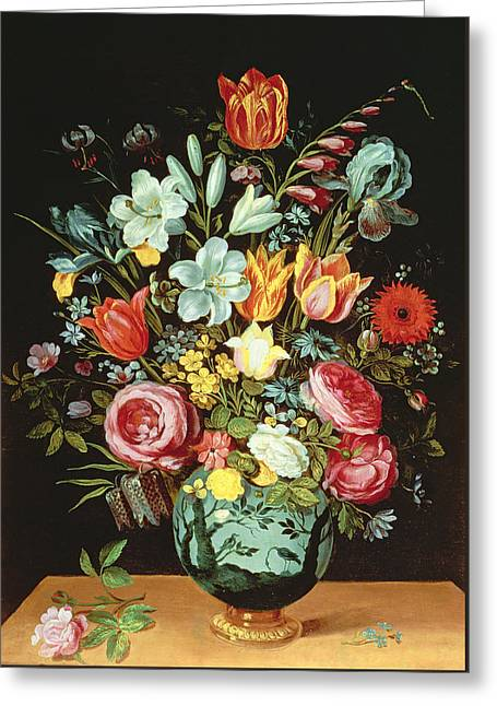 A Still Life Of Flowers In A Porcelain Vase Resting On A Ledge Greeting Card by Phillipe de Marlier