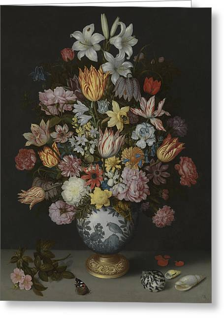 A Still Life Of Flowers In A Wan-li Vase Greeting Card by Ambrosius Bosschaert the Elder