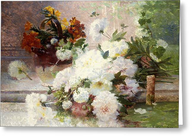 A Still Life With Autumn Flowers Greeting Card by Eugene Henri Cauchois