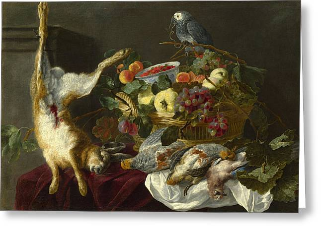 A Still Life With Fruit Dead Game And A Parrot Greeting Card by Jan Fyt