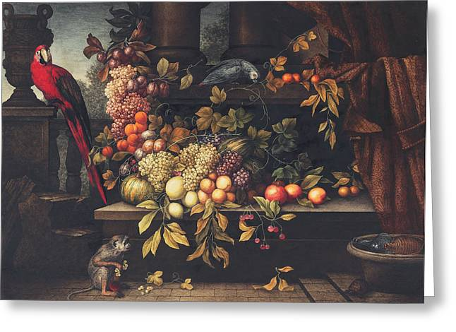 A Still Life With Fruit, Wine Cooler Greeting Card by David Emil Joseph de Noter
