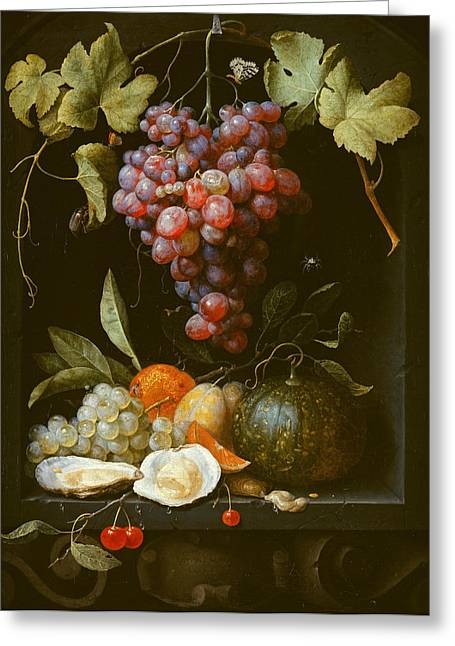A Still Life With Grapes A Melon An Orange Plums And Oysters In A Stone Niche Greeting Card by Joris van Son