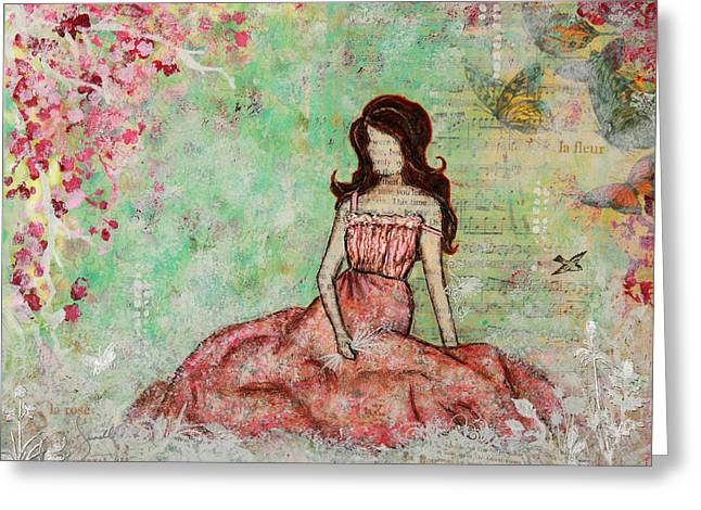 A Still Morning Folk Art Mixed Media Painting Greeting Card by Janelle Nichol
