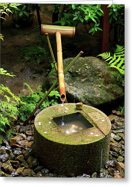 A Stone Water Basin In The Grounds Greeting Card by Paul Dymond