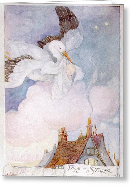A Stork Flies Over The  Rooftops Greeting Card