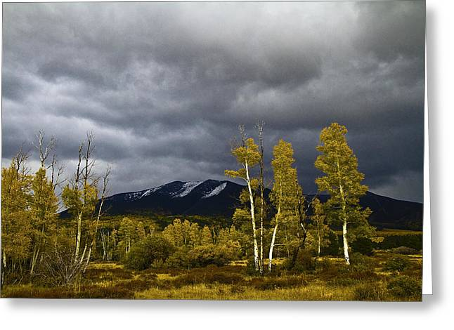 Greeting Card featuring the photograph A Stormy Day At The Peaks by Tom Kelly