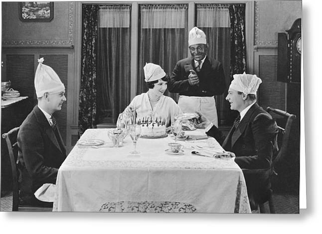 A Strange Birthday Party Scene Greeting Card by Underwood Archives