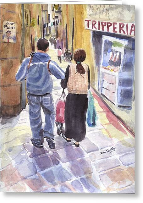 A Street In Naples Greeting Card
