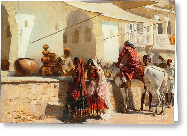 A Street Market Scene Greeting Card by Celestial Images