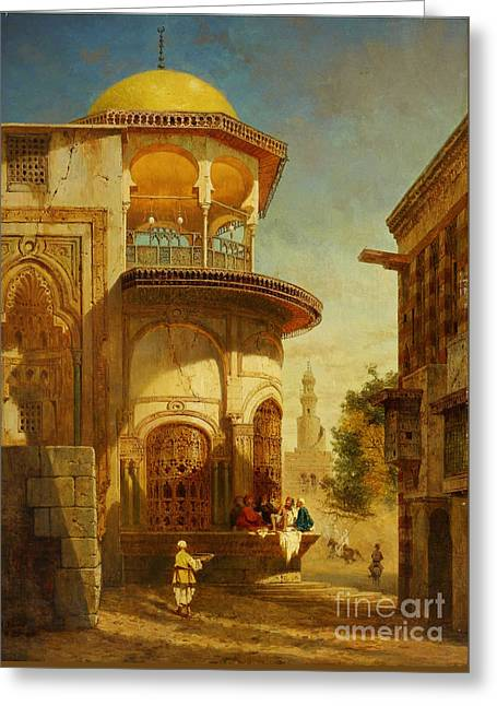 A Street Scene In Old Cairo Near The Ibn Tulun Mosque Greeting Card by Adrien Dauzats