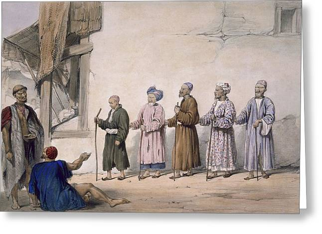 A String Of Blind Beggars, Cabul, 1843 Greeting Card by James Atkinson