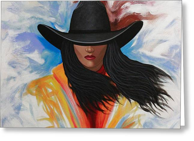 A Stroke Of Cowgirl Greeting Card by Lance Headlee