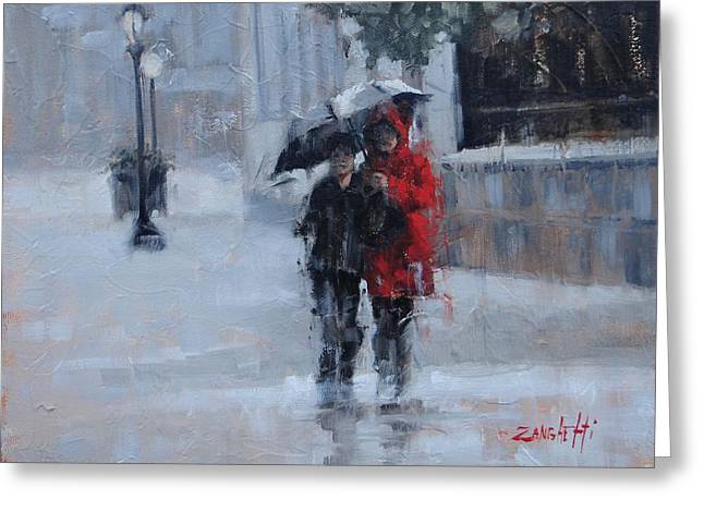 A Stroll In The Rain Greeting Card