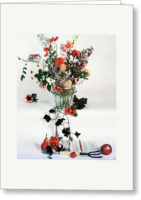 A Studio Shot Of A Vase Of Flowers And A Garden Greeting Card by Herbert Matter