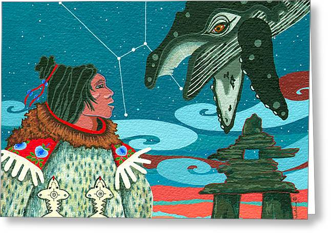 Greeting Card featuring the painting A Study For Whale Dreamer by Chholing Taha