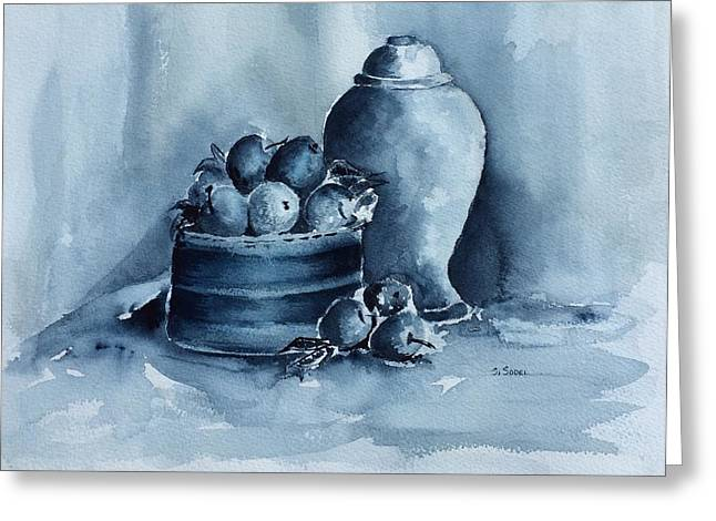 A Study In Blue Greeting Card by Stephanie Sodel