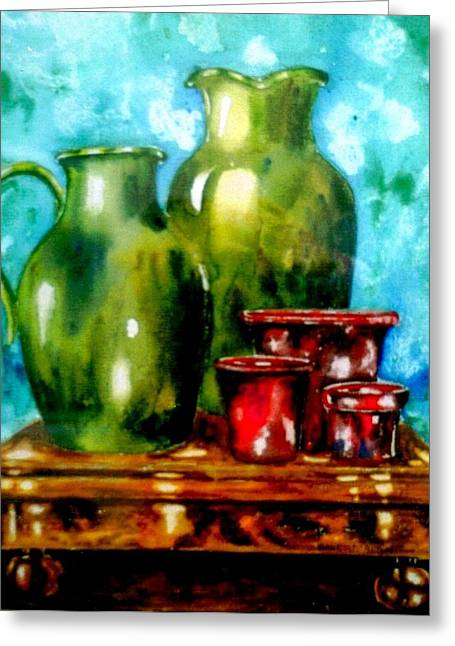 A Study In Red And Green Greeting Card by Anne Dalton