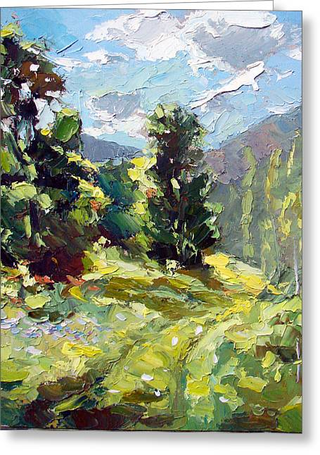 Greeting Card featuring the painting A Study In The Mountains by Dmitry Spiros