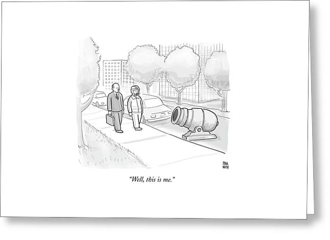 A Stuntman With A Curly Mustache Walks Next Greeting Card by Paul Noth