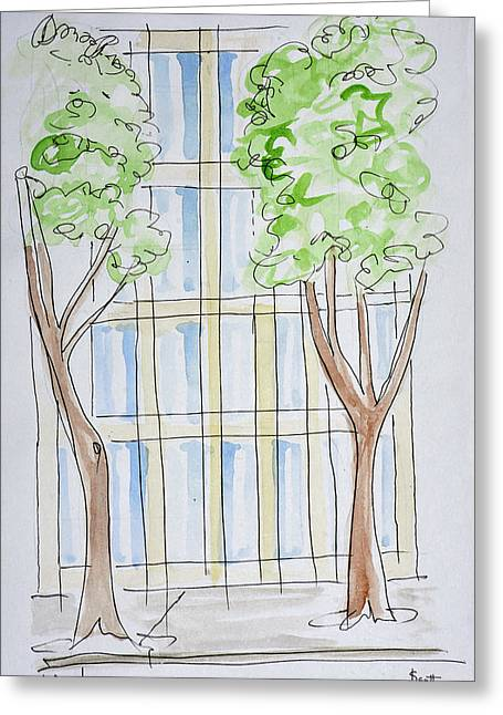 A Stylized View Of Boulevard Greeting Card