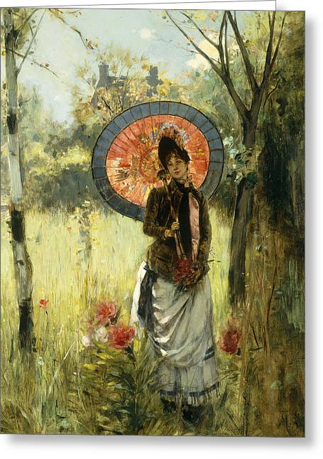 A Summer Stroll Greeting Card by Albert Lynch