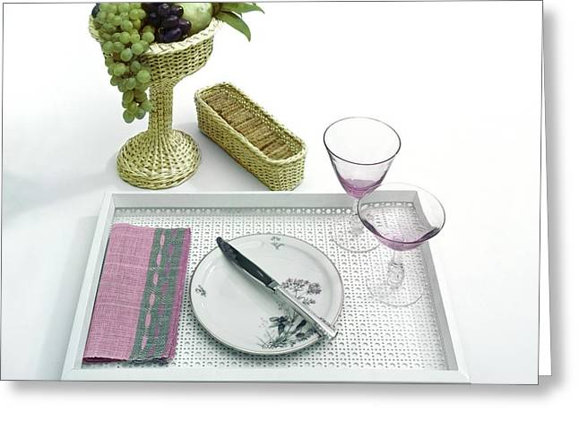 A Summer Table Setting On A Tray Greeting Card by Haanel Cassidy