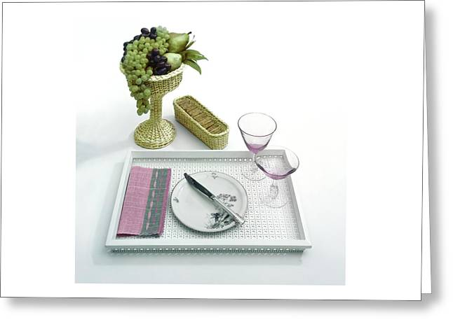 A Summer Table Setting On A Tray Greeting Card